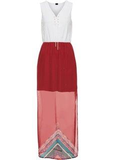 Макси-платье с кружевной отделкой (кремовый/красный) Bonprix