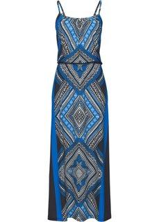 Длинное трикотажное платье с принтом (темно-синий/бирюзовый с рисунком) Bonprix