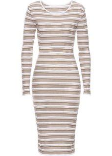 Вязаное платье (белый/серо-коричневый в полоску) Bonprix