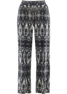 Трикотажные брюки-палаццо (черный/белый с узором) Bonprix