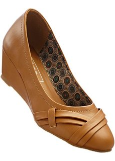 Туфли-лодочки на танкетке (2 полноты стопы), широкая стопа (верблюжий) Bonprix