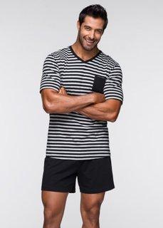 Пижама (черный/светло-серый меланж в полоску) Bonprix
