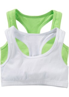 Однотонное бюстье (2 шт.) (ярко-зеленый + белый) Bonprix