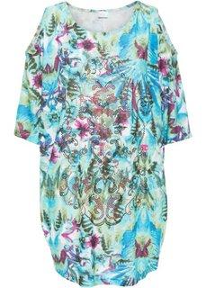 Пляжное платье (бирюзовый/синий/ярко-розовый с рисунком) Bonprix