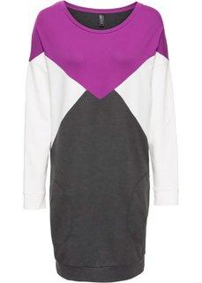 Трикотажное платье (серый меланж/фиолетовый/кремовый) Bonprix