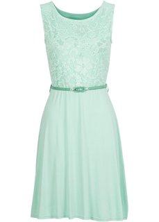 Трикотажное платье с кружевом (мятный) Bonprix