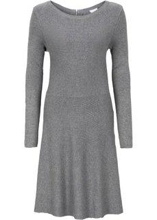 Вязаное платье в резинку (серый меланж) Bonprix