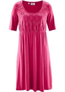 Трикотажное платье с кружевом и коротким рукавом (красно-ягодный) Bonprix