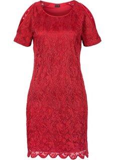 Кружевное платье с вырезами (красный) Bonprix