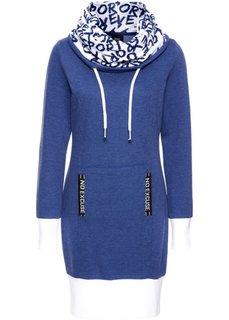 Трикотажное платье с длинным рукавом (темно-синий) Bonprix