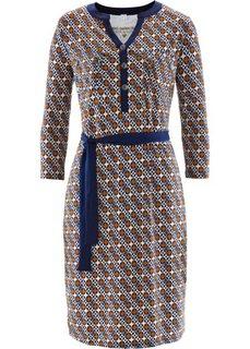 Трикотажное платье с принтом (темно-синий/бронзовый с рисунком) Bonprix