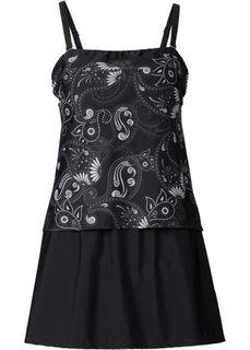 Купальное платье-бандо в стиле танкини (черный с рисунком) Bonprix