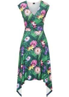 Асимметричное платье (темно-зеленый с узором) Bonprix