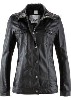 Куртка из искусственной кожи, на молнии и кнопках (черный) Bonprix
