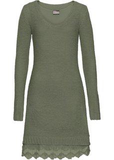 Вязаное платье с кружевными воланами внизу (оливковый) Bonprix