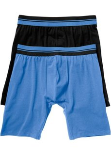 Длинные трусы-боксеры (2 шт.) (черный/голубой) Bonprix