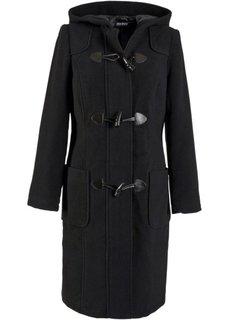 Шерстяное пальто с капюшоном (черный) Bonprix