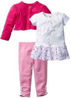 Болеро + футболка + легинсы (3 изд.) (горячий ярко-розовый/белый/розовый) Bonprix