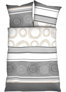 Постельное белье в стиле поп-арт Круги, фланель (серый) Bonprix