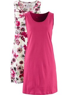 Хлопковое трикотажное платье (каменно-серый с принтом + красная ягода) Bonprix