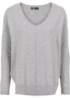 Пуловер с V-образным вырезом (светло-серый меланж) Bonprix