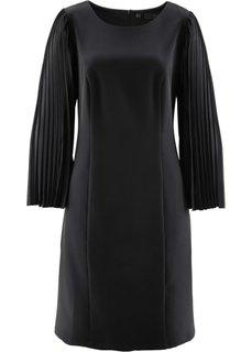 Платье с плиссированными рукавами (черный) Bonprix