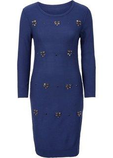 Вязаное платье с аппликацией (темно-синий) Bonprix