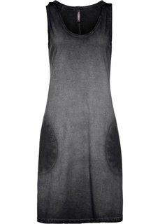 Трикотажное платье с капюшоном (черный) Bonprix