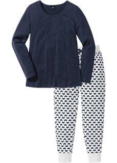 Пижама из органического хлопка (натуральный меланж/темно-синий с рисунком) Bonprix