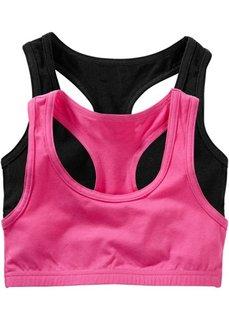 Однотонное бюстье (2 шт.) (ярко-розовый + черный) Bonprix