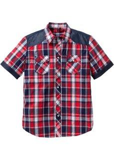 Рубашка стандартного покроя с коротким рукавом (красный в клетку) Bonprix