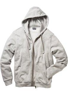 Трикотажная куртка стандартного покроя с капюшоном (серый меланж) Bonprix