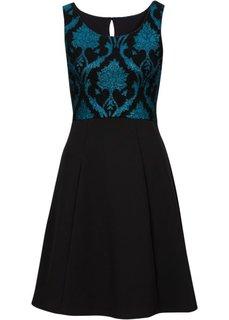 Трикотажное платье (черный/бирюзовый) Bonprix