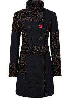 Пальто в миксе узоров и материалов (черный с рисунком) Bonprix