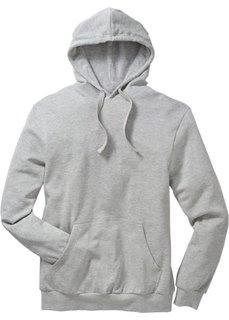 Толстовка стандартного прямого кроя regular fit с капюшоном (серый меланж) Bonprix