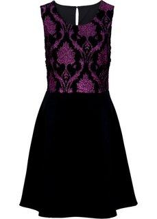 Трикотажное платье (черный/цвет фуксии) Bonprix