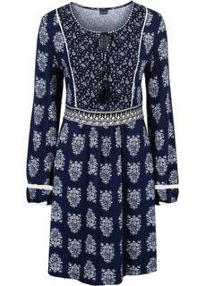 Трикотажное платье на шнурках (темно-синий с рисунком) Bonprix