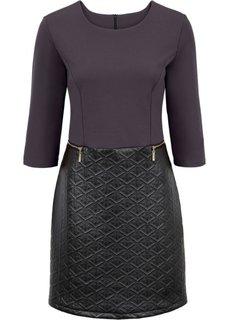 Платье в смеси материалов (темно-серый/черный меланж) Bonprix