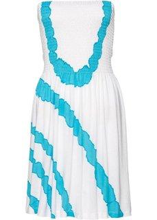 Пляжное платье бандо (белый/бирюзовый) Bonprix