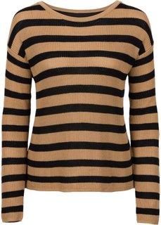 Пуловер с шифоновой вставкой (светло-кофейный/черный в полоску) Bonprix