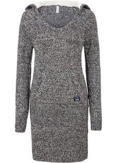 Вязаное платье (черный/белый меланж) Bonprix