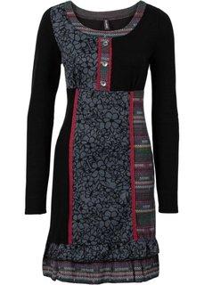 Вязаное платье с яркими вставками (черный) Bonprix