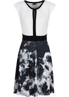Трикотажное платье (черный/белый с рисунком) Bonprix