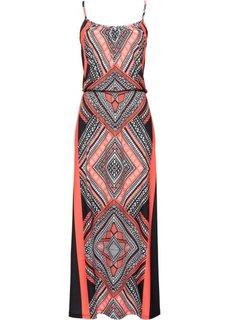 Длинное трикотажное платье с принтом (черный/оранжевый с рисунком) Bonprix