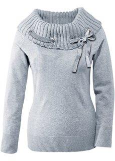 Пуловер с большим воротником (светло-серый меланж) Bonprix