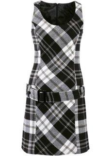 Платье-футляр с ремнем (черный/белый в клетку) Bonprix