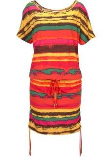 Трикотажное платье с лентами для завязывания (ярко-оранжевый с узором) Bonprix