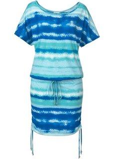 Трикотажное платье с лентами для завязывания (синий с узором) Bonprix