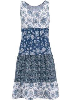 Трикотажное платье без рукавов (индиго с рисунком) Bonprix