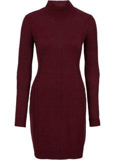 Вязаное платье с ажурным узором (темно-бордовый) Bonprix